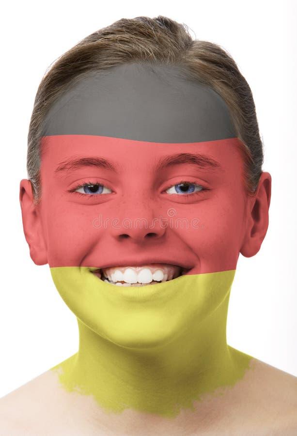 Peinture de visage - indicateur de l'Allemagne photographie stock
