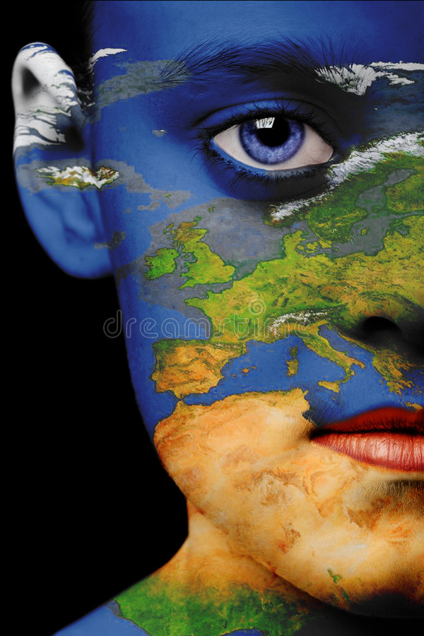 Peinture de visage - l'Europe photo libre de droits
