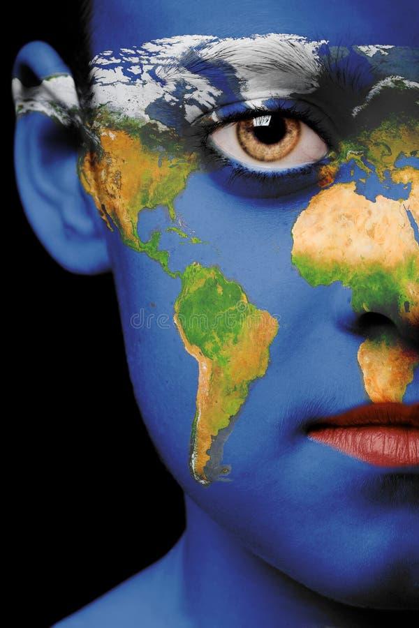 Peinture de visage - monde image stock