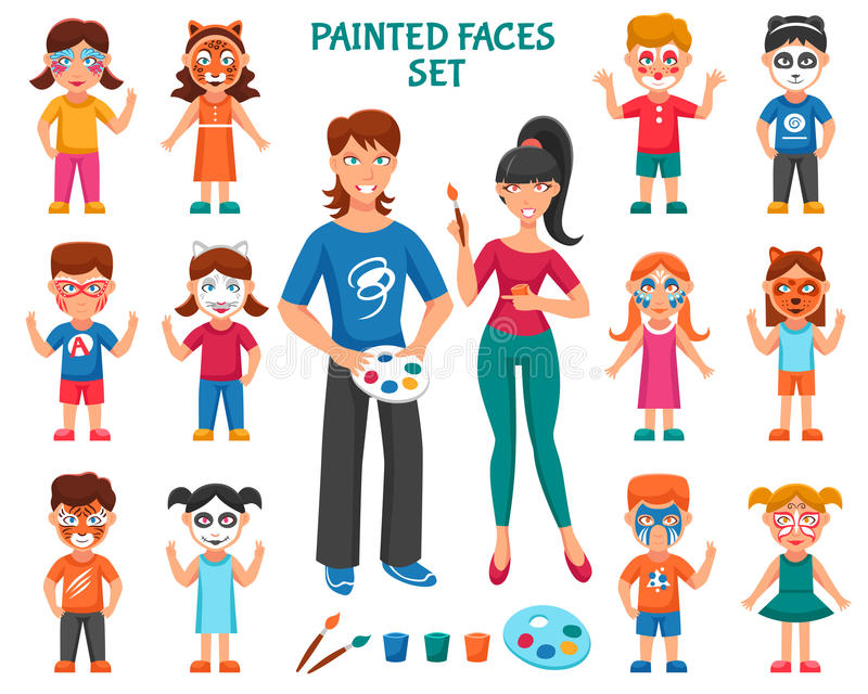 Peinture de visage pour des enfants réglés illustration stock