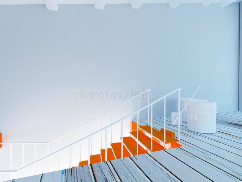 Peinture des escaliers, déroulement des opérations dans la chambre 3d illustration libre de droits