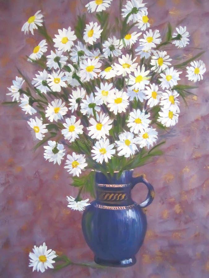 Peinture des fleurs de camomille. illustration de vecteur