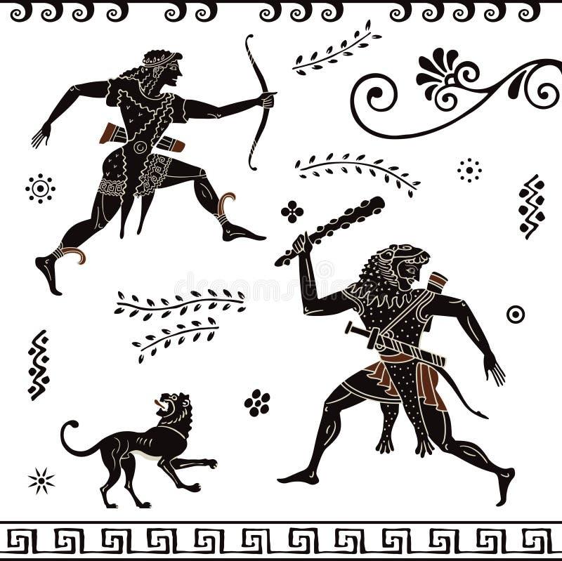 Peinture du grec ancien Art de poterie Chiffres stylisés du grec ancien Apollon hercule illustration stock