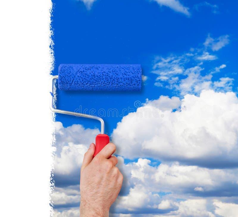 Peinture du mur avec le ciel image stock