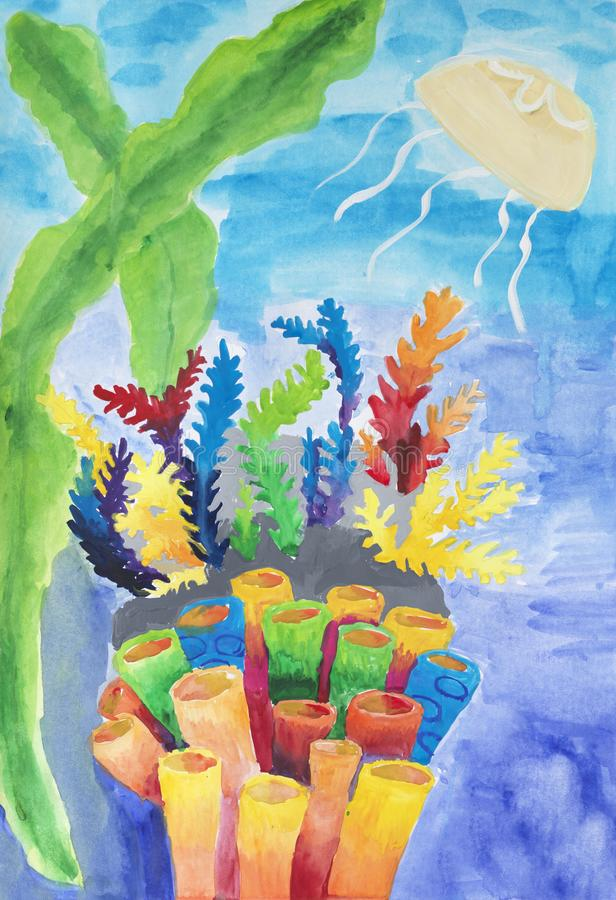 Peinture du ` s d'enfant sur le papier de la vie sous-marine du ` s illustration stock