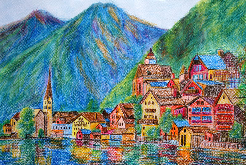 Peinture En Pastel - Autriche Hallstatt Illustration Stock - Image