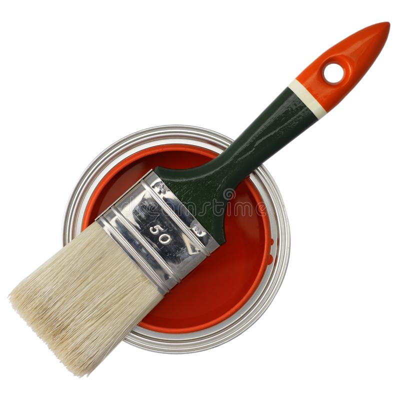 Peinture et balai rouges photo libre de droits