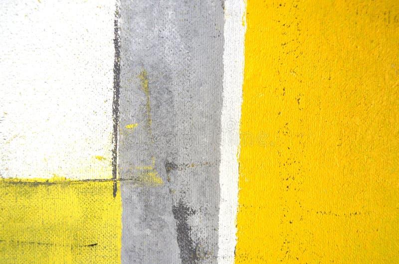 Peinture grise et jaune d'art abstrait image stock