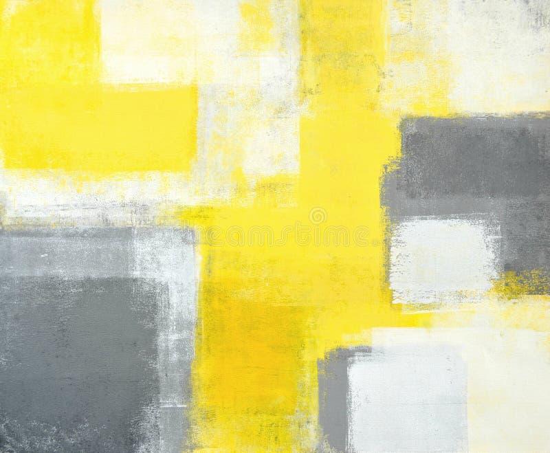 Peinture grise et jaune d'art abstrait images stock