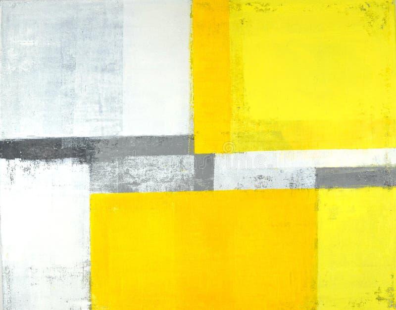 Peinture grise et jaune d'art abstrait photo stock