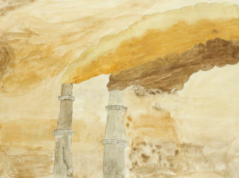 Peinture initiale de fumée dense polluée illustration stock