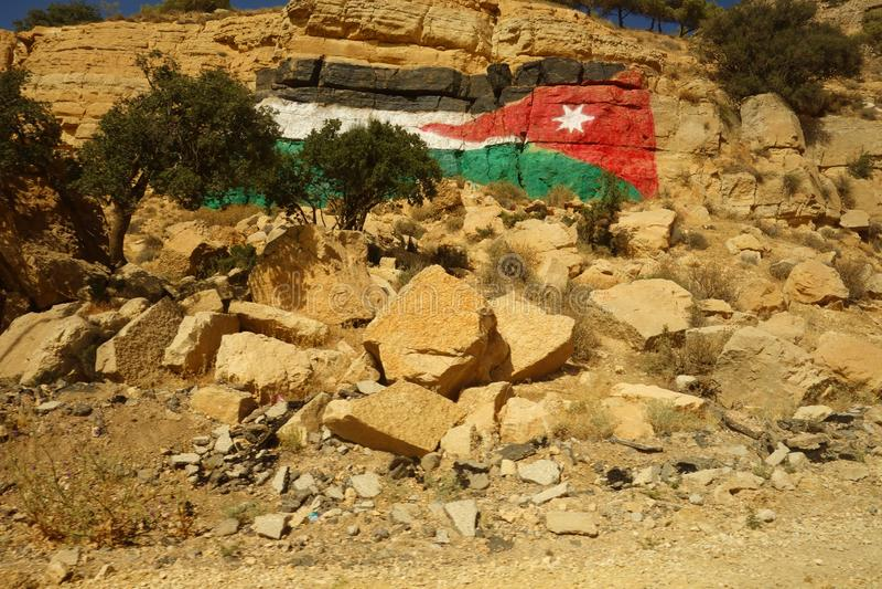 Peinture jordanienne de drapeau photo stock