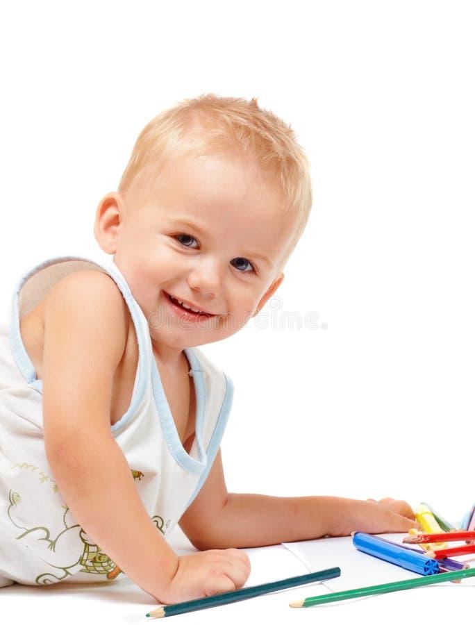 Peinture joyeuse d'enfant images stock