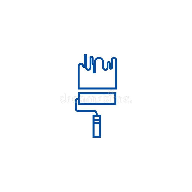 Peinture, ligne concept de rouleau de peinture d'icône Peinture, symbole plat de vecteur de rouleau de peinture, signe, illustrat illustration stock