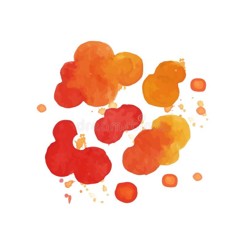Peinture lumineuse d'aquarelle des nuages d'explosif du feu Effet de coup en couleur rouge et orange Conception colorée de vecteu illustration de vecteur