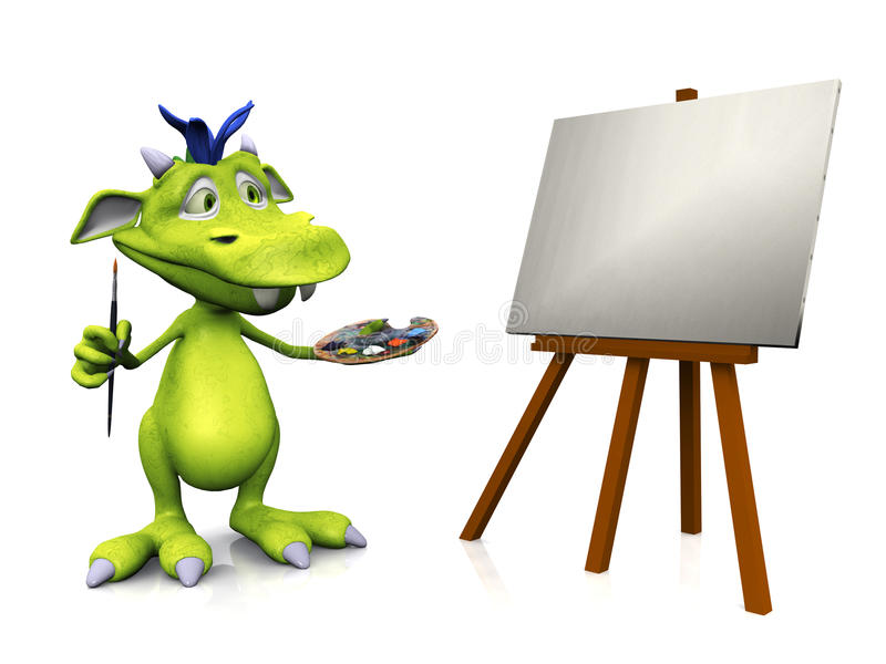 Peinture mignonne de monstre de dessin animé. illustration de vecteur