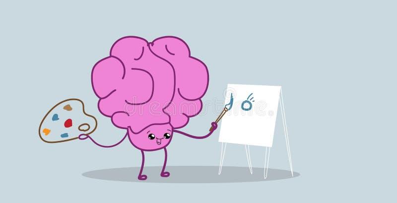 Peinture mignonne de personnage de dessin animé de rose d'organe d'esprit humain sur le style de kawaii de concept de créativité  illustration libre de droits