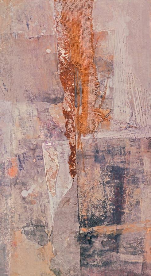 Peinture moderne abstraite combinée avec le collage images stock