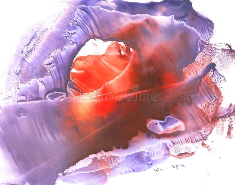 Peinture monotypy de gouache d'aube illustration stock