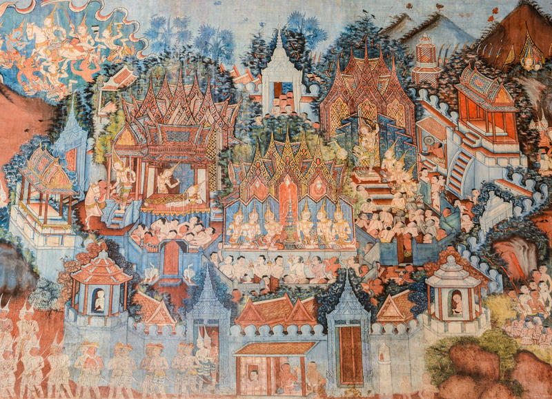 Peinture murale antique de temple bouddhiste en Thaïlande photo stock