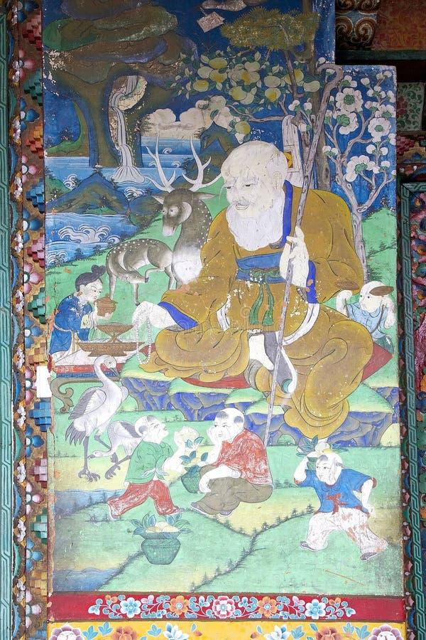 Peinture murale au monastère de Pemayangtse, Sikkim, Inde images stock