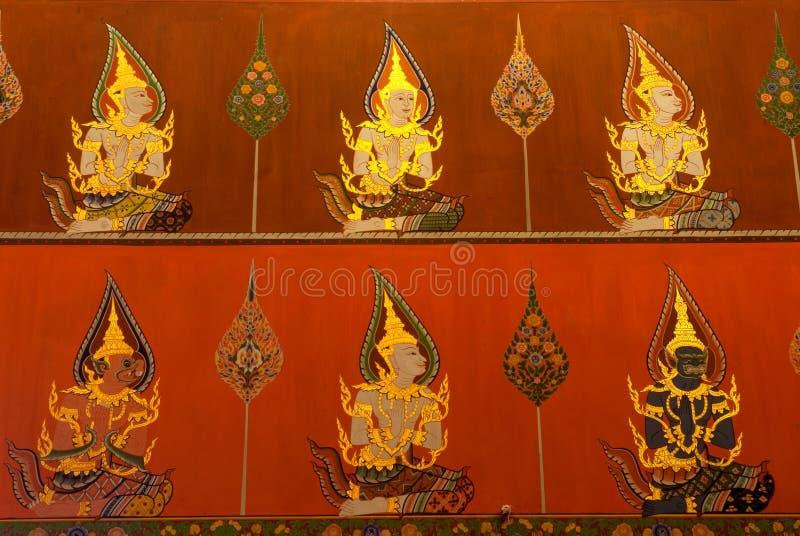 Peinture murale bouddhiste antique dans l'église de Wat Panan Choeng, Ayuttha image stock