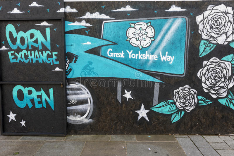 Peinture murale d'art de rue de Doncaster, échange de maïs, Market Place photo libre de droits