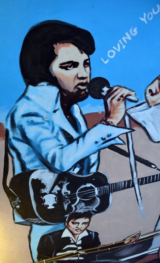 Peinture murale d'Elvis photographie stock libre de droits