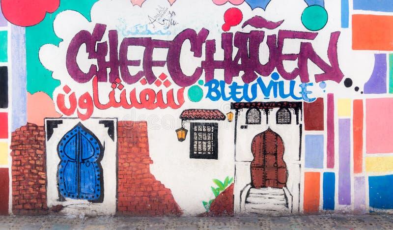 Peinture murale dans Chefchaouen photos libres de droits