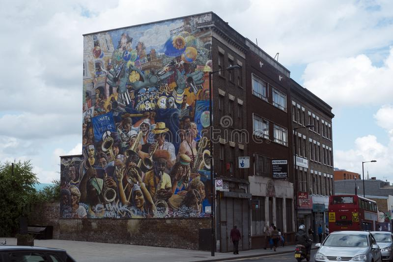 Peinture murale de carnaval de paix de Hackney, Dalston, Londres photo stock