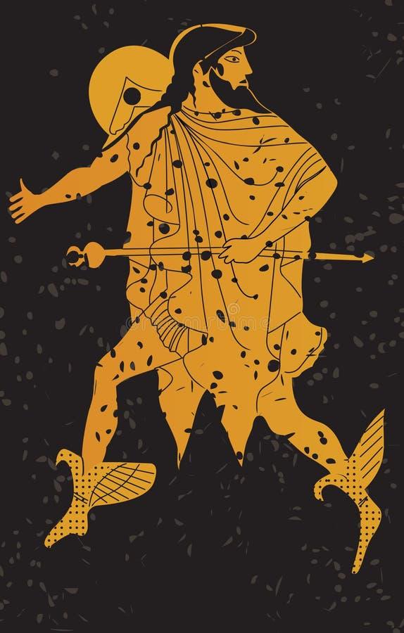 Peinture murale de la Grèce, soldat grec. illustration libre de droits