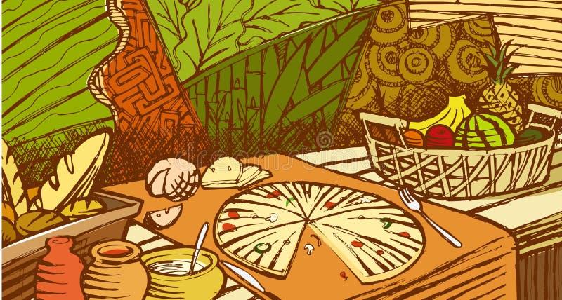 Peinture murale de nourriture illustration libre de droits