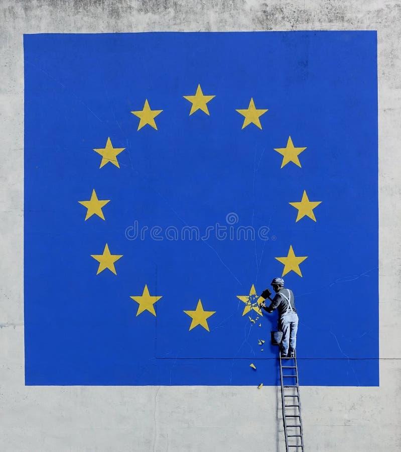 Peinture murale du ` s Brexit de Banksy à Douvres, Angleterre image stock