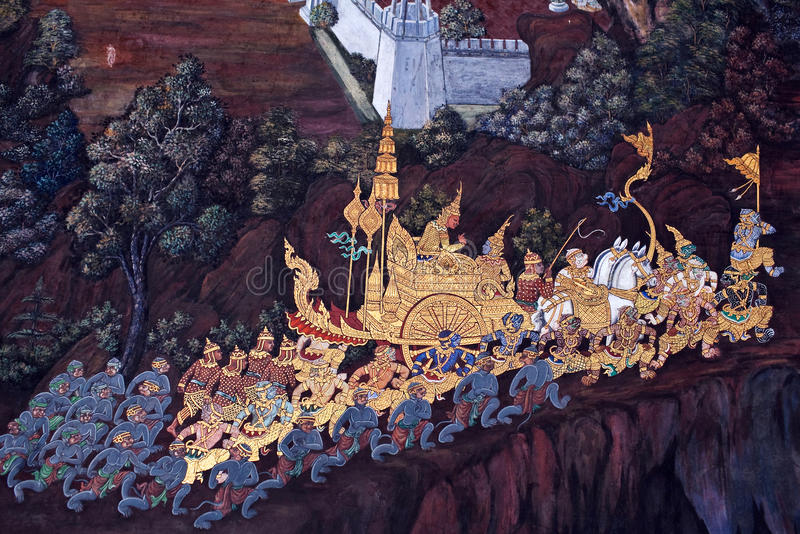 Peinture murale en Wat Phra Kaew à Bangkok, Thaïlande photos stock
