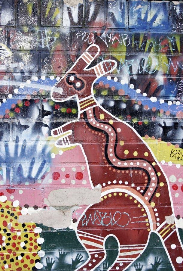 Peinture murale indigène australienne d'art illustration de vecteur