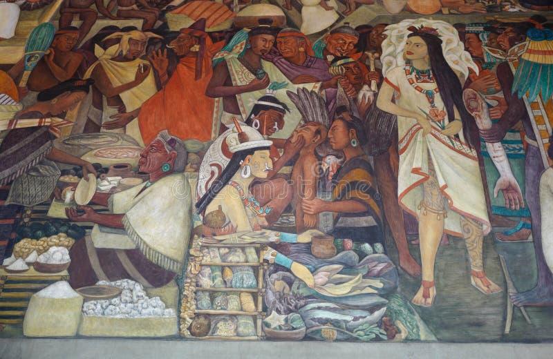 Peinture murale par Diego Rivera, Mexique illustration stock