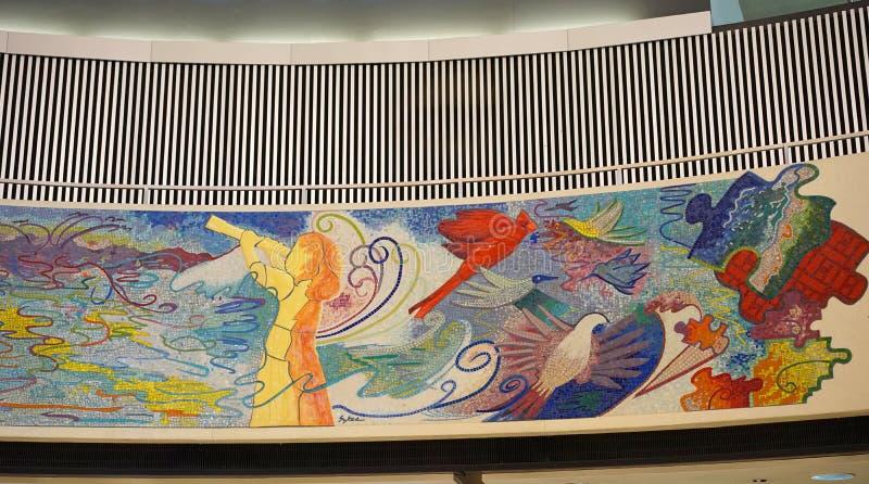 Peinture murale publique dans l'aéroport de Chicago O'Hare photographie stock libre de droits