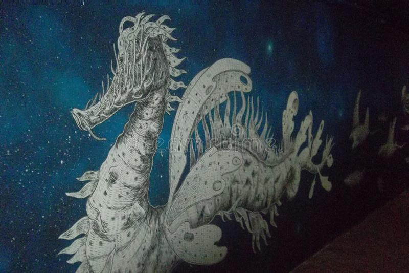 Peinture murale représentant un dragon photographie stock libre de droits