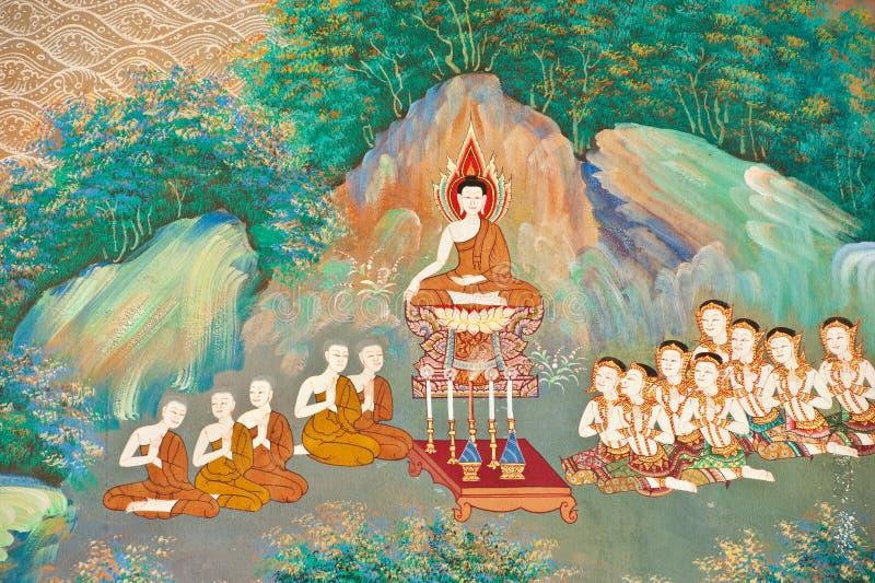 Peinture murale sur le mur de l'église bouddhiste photos stock