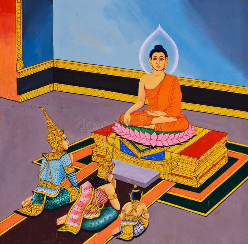 Peinture murale thaïlandaise traditionnelle photographie stock