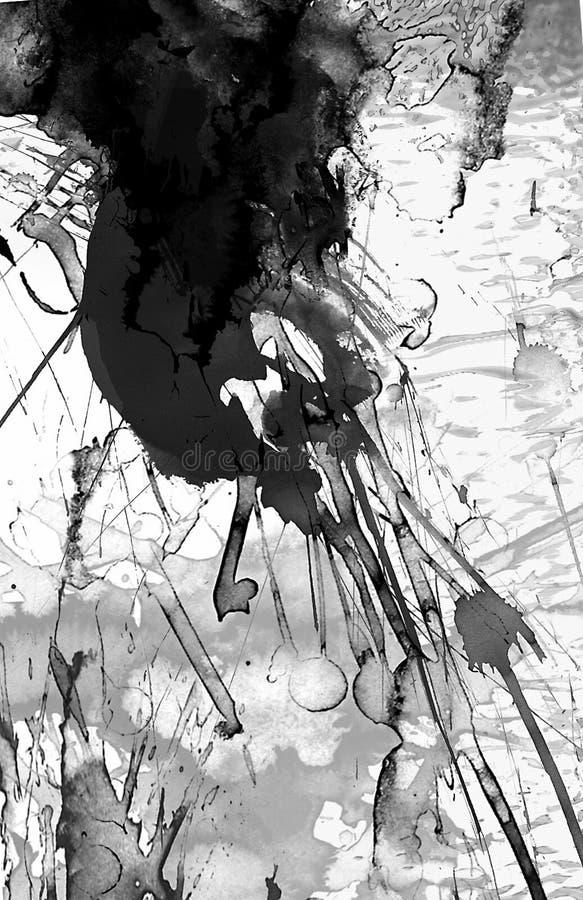 Peinture noire et blanche abstraite illustration libre de droits