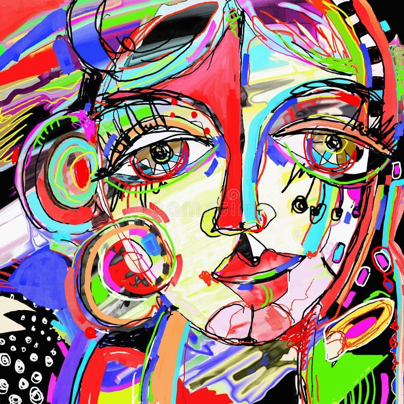 Peinture numérique abstraite originale de visage humain, compo coloré illustration de vecteur