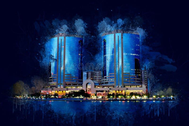 Peinture numérique Architecture à Dubaï, vue sur Dubai Creek images libres de droits