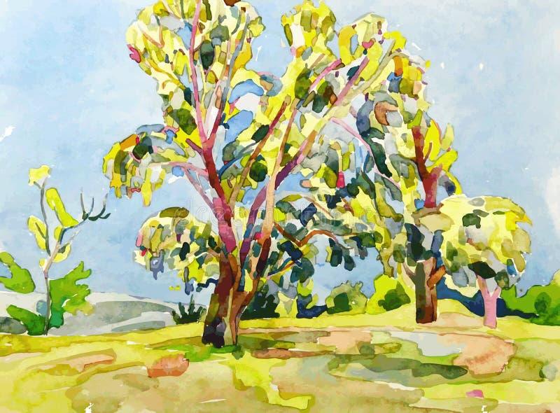 Peinture originale d'aquarelle d'arbre d'été illustration libre de droits