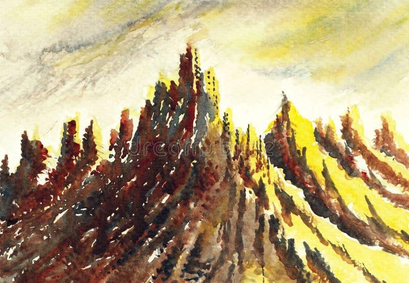 Peinture originale d'aquarelle - montagnes d'été illustration de vecteur