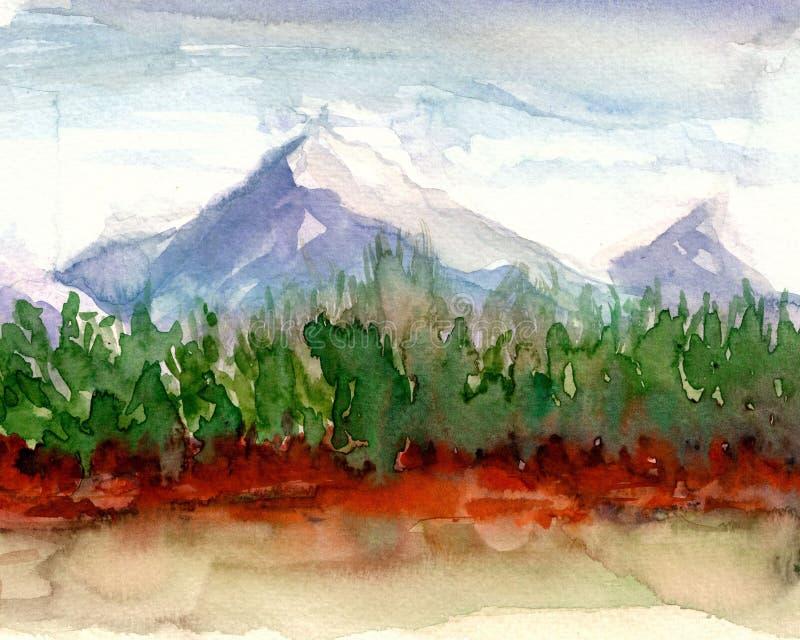 Peinture originale d'aquarelle - nature de côté de lac illustration libre de droits