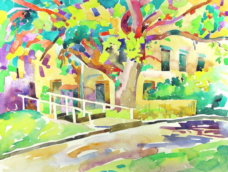Peinture originale d'aquarelle par un arbre illustration libre de droits