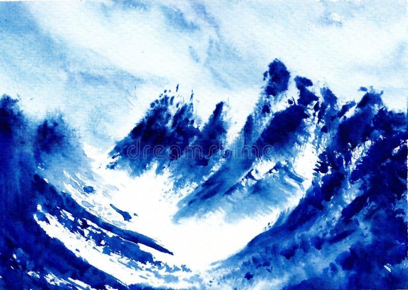 Peinture originale d'aquarelle - se demande du monde - l'Himalaya illustration de vecteur