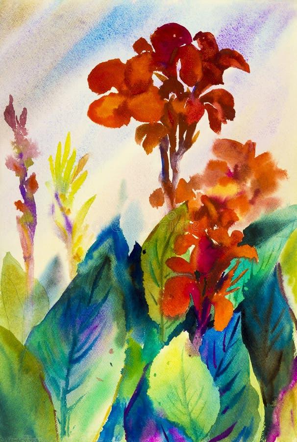 Peinture originale de paysage d'aquarelle colorée de la fleur de lis de canna illustration de vecteur