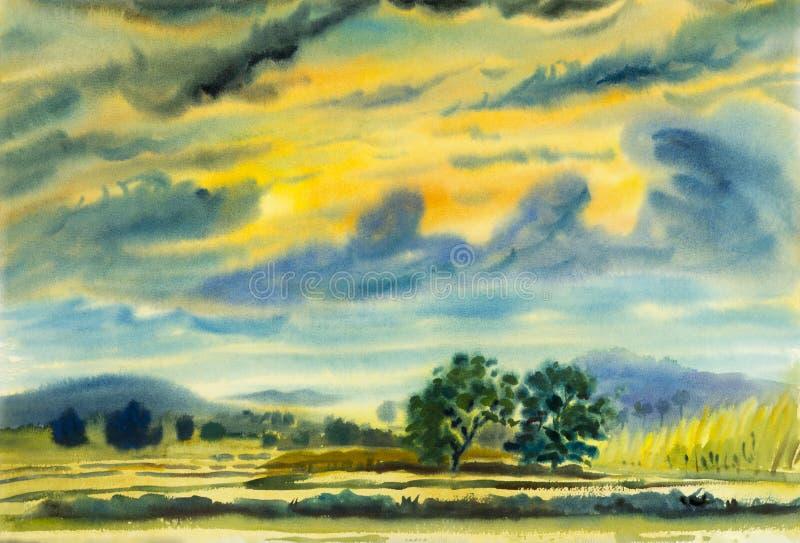 Peinture originale de paysage d'aquarelle colorée de la montagne photo libre de droits